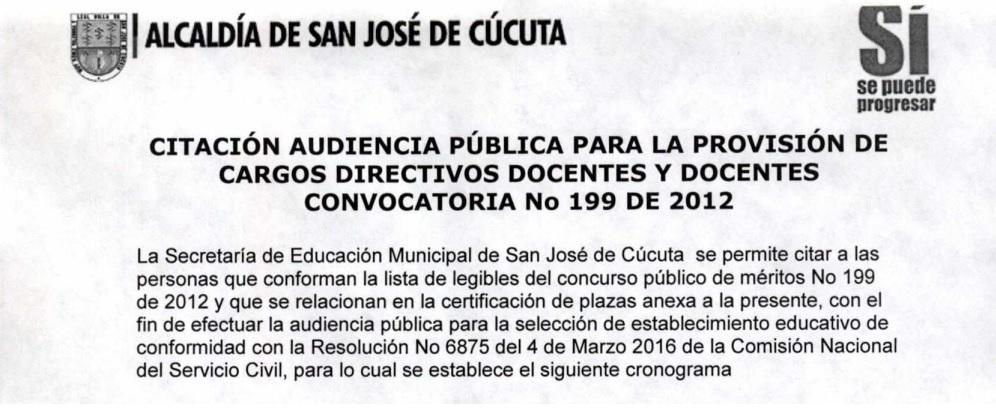 Citaci n audiencia p blica para la provisi n de cargos Convocatoria para las plazas docentes 2016