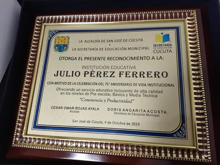 75 AÑOS INSTITUCIÓN EDUCATIVA JULIO PÉREZ FERRERO